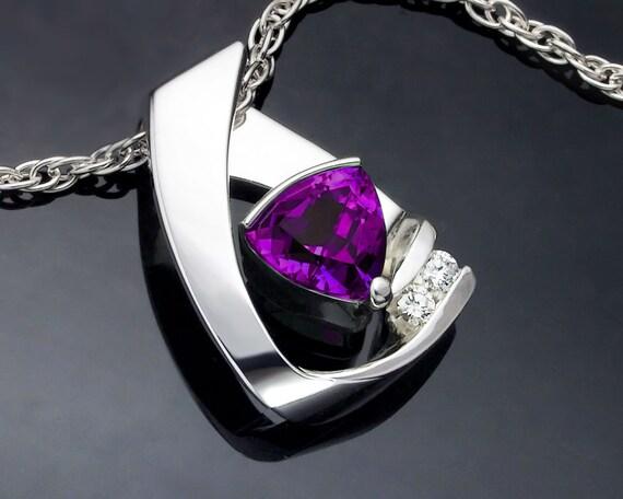 amethyst necklace, amethyst pendant, February birthstone, silver pendant, gemstone jewelry, fine jewelry, birthday gift - 3452