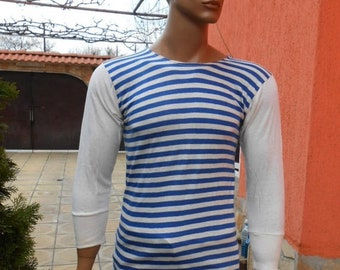 20%ON SALE Vintage Striped T-shirt with long sleeves , Sailor T-shirt, Bulgarian Sailor T-shirt, Vintage  T-shirt, Marine Gift Idea