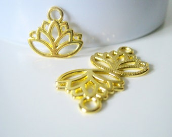 10 Gold Plated Lotus Flower Charms, 17x15mm, Jewelry Making Supplies, Charms  (1007)