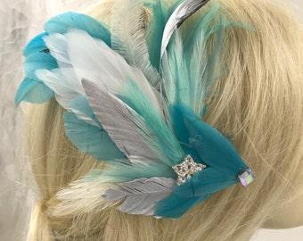 Sensual Aqua Blue Feather Hair Clip With Bling,Pastel Feather Hair Barrette,Hat Hair Lapel Feather Clip, Feather Hair Accessory,Feather Clip