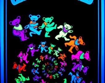 Rare Grateful dead Dancing Bears Flocked BLACK LIGHT Poster Vintage Retro