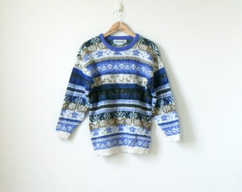 80s Alpaca Floral & Animal Patterned Sweater - 80s Sweater Vintage Sweater - Peru Sweater - Peruvian Sweater - Fluffy Sweater - Men's M