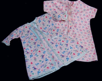 Vintage Flannel Baby Robes Stork Print layette nursery doll clothes pair 1950's bathrobe infant baby doll pretty pink flannel wraps robes