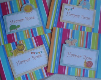 Juvenille Stripe with Animal placard Set of Eight