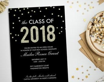 2018 graduation party invitation, class of 2018, faux glitter graduation open house, printable invitation