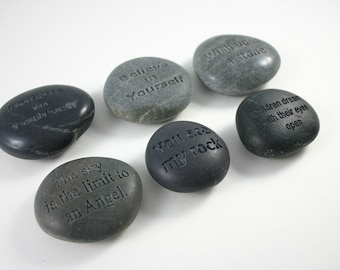1 Custom Engraved Grey Message Stone Personalized Message Name Stone Weddings
