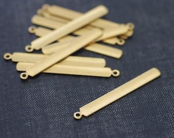 Skinny Vertical Bar Charms 39x5mm - Raw Brass - 12pcs - Narrow Bar Charm - Rectangle Bar, Stamping Blank, Long Bar Pendant, Personalized Tag