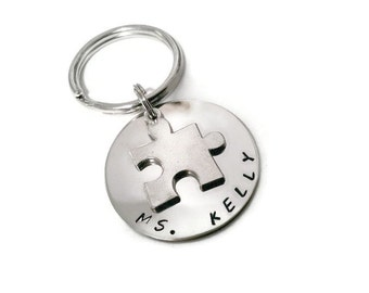 Autism Teacher gift, puzzle piece with custom text, Autism awareness jewelry, teacher thank you, personalized key chain