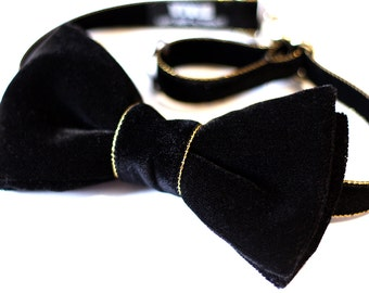 Black and Gold Bow Tie - Black Velvet Bow Tie - Black Tie Event - Wedding Bow Tie - Groomsmen Bow Ties