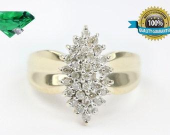 Diamond Cluster Ring 14K Yellow Gold