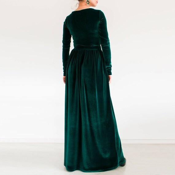 Samtkleid grün / plus Size Kleid / Maxi Kleid Langarm Kleid /