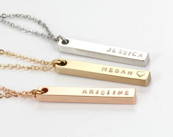 Custom  Necklace, Gold Plated -Vertical Bar - Name Bar Pendant - Engraved Bar Pendant Necklace Gold, Silver, Rose Gold