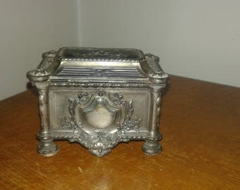 Antique wooden box padded silk Interior spelter jewelry box
