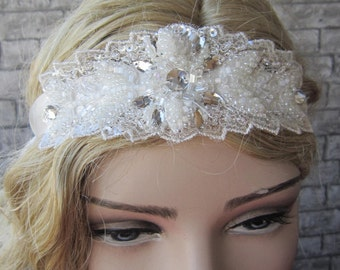 Lace And Beaded Wedding Headband/ Wictorian Stily Headband, Bridal Lace Headband, Bridal Accessories