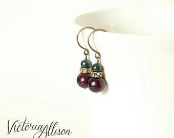Teal and Dark Purple Plum Pearl Wedding Earrings, Rhinestones, Brass Hooks, Bridal Jewelry, Freshwater Pearls, Fall, Autumn
