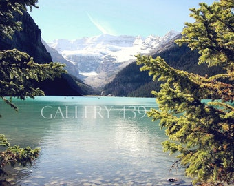 "Banff Lake Louise ""Through the Trees"" Photography Home Decor Canadian Rockies Mountain Turquoise Lake Nature Canada Fine Art Portrait Photo"