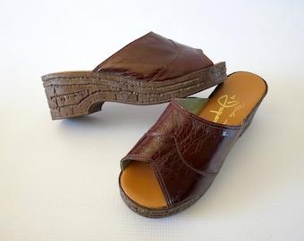 70s Sandals Mule Slides Platform Wedge Hippie Boho Peep Toe Leather Made in Japan Shoes Size 7 7.5