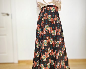Vintage brown maxi skirt Folk style gathered long hippie boho skirt SIZE M
