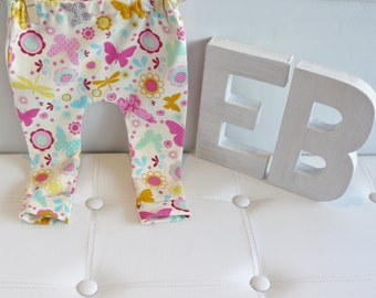 Girls Baby/Toddler/Kids/Children's Leggings - Multicoloured/Pink Butterflies.  Emma's Bambino.  Handmade From Quality Stretch Cotton.
