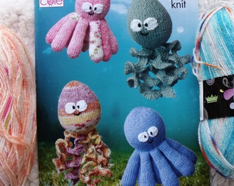 2 x 100gm King Cole Splash Double Knitting with Pattern 9092 to make Octopus and Squid Toys.