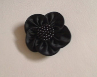 Black satin flower with Center pearls