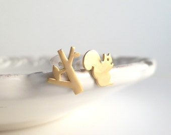 Tree Squirrel Earrings - tiny pair mismatched studs on .925 sterling silver posts - SILVER or GOLD - spring minimalist style