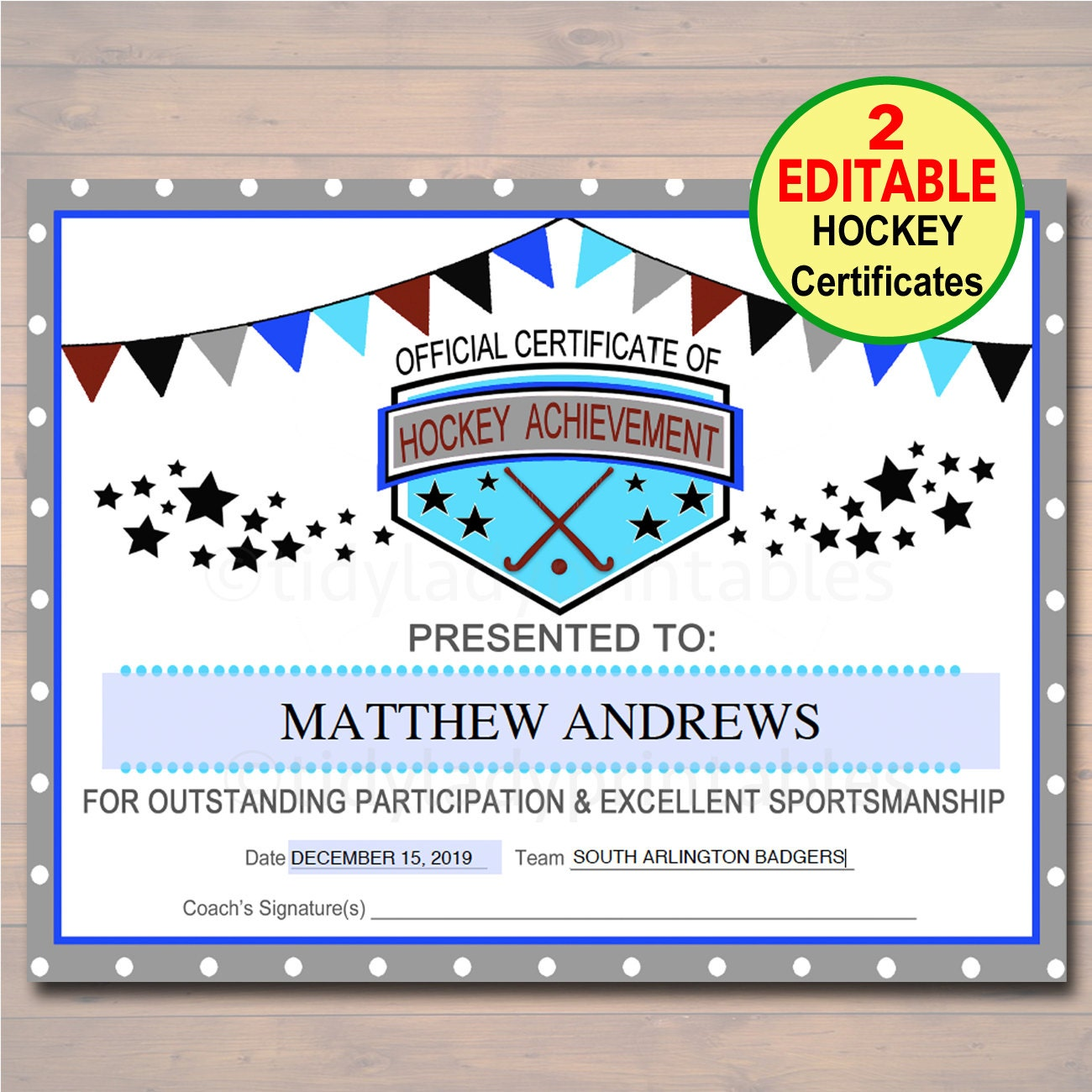 Editable hockey award certificates instant download team zoom alramifo Image collections