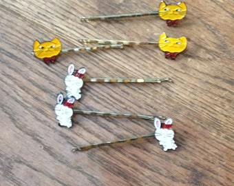 6 x Vintage New Quirky Retro Kitsch Hair Slides / Grips Cats and Bunnies - very cute little accessories