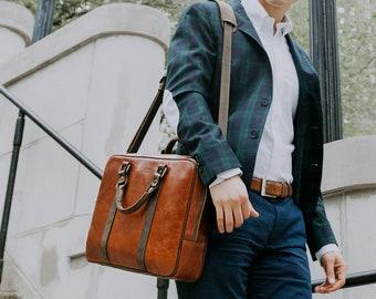 Leather Laptop Bag, Minimalist Laptop Bag, Leather Briefcase, Leather Messenger, 13 inch Laptop Bag, Brown Leather | Stephenson - Cognac