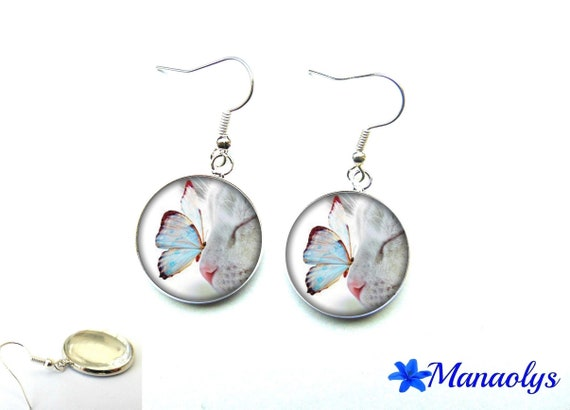 Earrings white cat and butterfly, 2007 glass cabochons