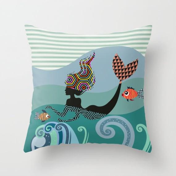 Mermaid Pillow Case, Cute  Mermaid Pillow, Mermaid Decor Pillow, Mermaid Accessories, Marine Decor, Blue, Teal, Turquoise
