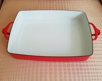 Dansk Kobenstyle large rectangular baker chili red enamel metal bake pan made in France 16 inches long by Jens Quistgaard