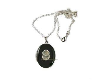 Deep Sea Diver médaillon incrusté émail peinte à la main noir Onyx collier d'inspiration nautique personnalisé et Options de couleur
