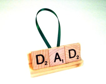 Personalized Xmas Gift - Dad Ornament - Scrabble Tile Gift - New Dad Gift - Baby Shower Gift - Present for Dad - Daddy Ornament,Gift for Dad