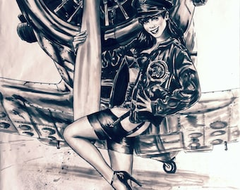 pinup drawing format ww2 poster pens ink on a2 paper