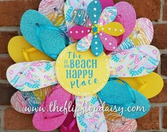 "Adorable ""The Beach is My Happy Place"" Flip Flop Wreath Door Wall Decor Unique Gift"