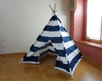 """Large Kids Teepee, Large Kids Play Tent, Navy and White Stripe Navy Childrens Teepee  6"""" Wide Stripes Poles Included Ships from U.S."""