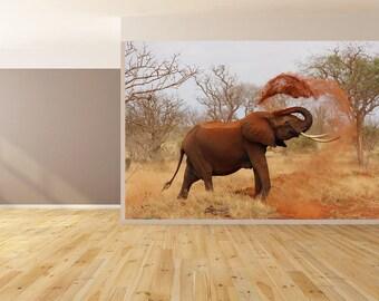 Wall Art African Elephant Photo Wallpaper HUGE Peel and Stick