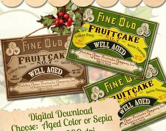 Christmas Vintage Style Fruitcake Label Digital Download Printable Clip Art Tag Scrapbook Antique Graphic Collage Sheet Card Image