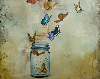 Butterfly and Ball Jar Print Mounted to wood panel, titled Released, Limited Edition Print, Mixed media butterfly painting