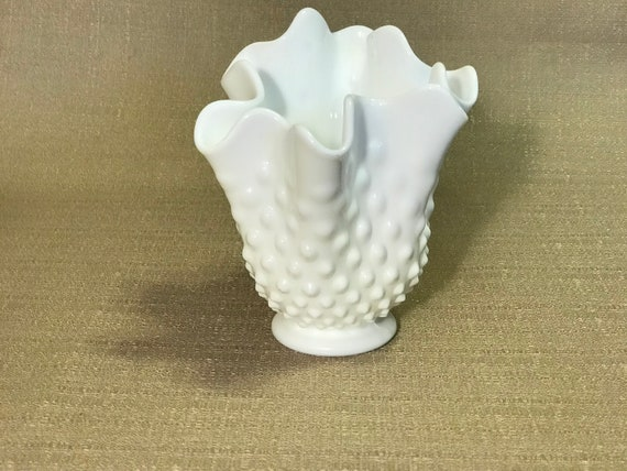 Fenton White Milk Glass Hobnail Vase