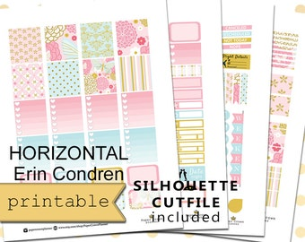 HORIZONTAL Planner Stickers for use with Erin Condren Life Planner/Printable Planner Stickers/Spring Garden Weekly Planner Sticker Kit