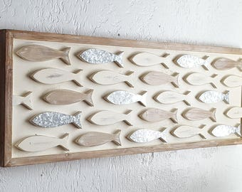 Wood fish etsy for Wooden fish wall decor
