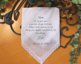 Mother of the Bride handkerchief, PRINTED, to dry your happy tears, Mom Handkerchief, Mother of the Bride Gift,Personalized. LS6FCAC[87]