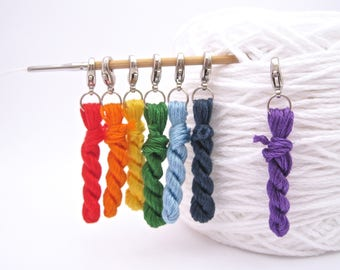 Rainbow Charms, Stitch Markers, Knit Stitch Markers, Yarn Stitch Markers, Mini Skein, Yarn Charm, Mini Hank, Rainbow Markers, Rainbow, Knit