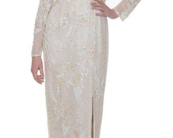 Vintage Ivory Cream Embellished Sequins Wedding Bridal Maxi Dress