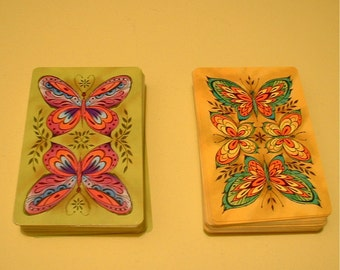 RESERVED for dolfinteeth Vintage Psychedelic Butterfly Playing Cards Set