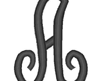 Fancy Script Monogram Font Embroidery Digital file