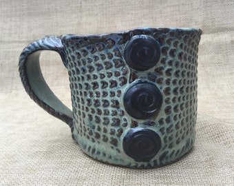 Blue/Green Ceramic Mug with Black Buttons