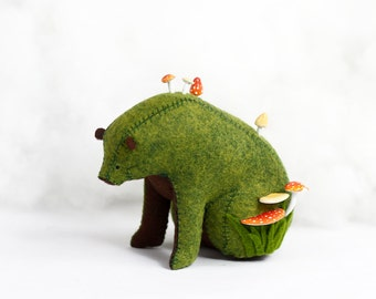 Forest Spirit / Sitting Bear Soft Sculpture / Grizzly Bear Art / Green Bear